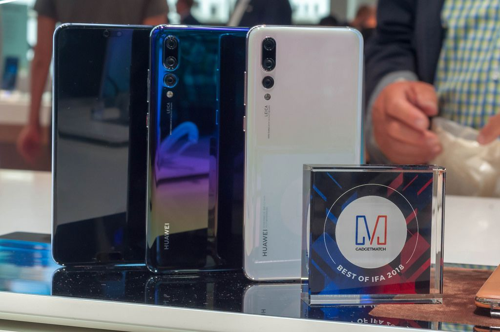 Hauwei P20 Pro cell phones in different colors. Best of IFA 2018