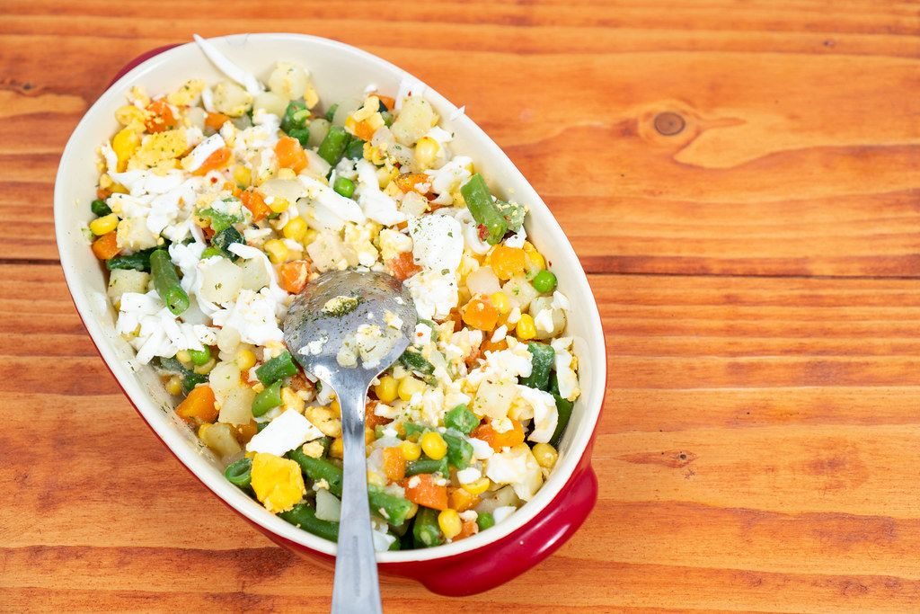 Healthy vegetables salad in the bowl with copy space (Flip 2020)