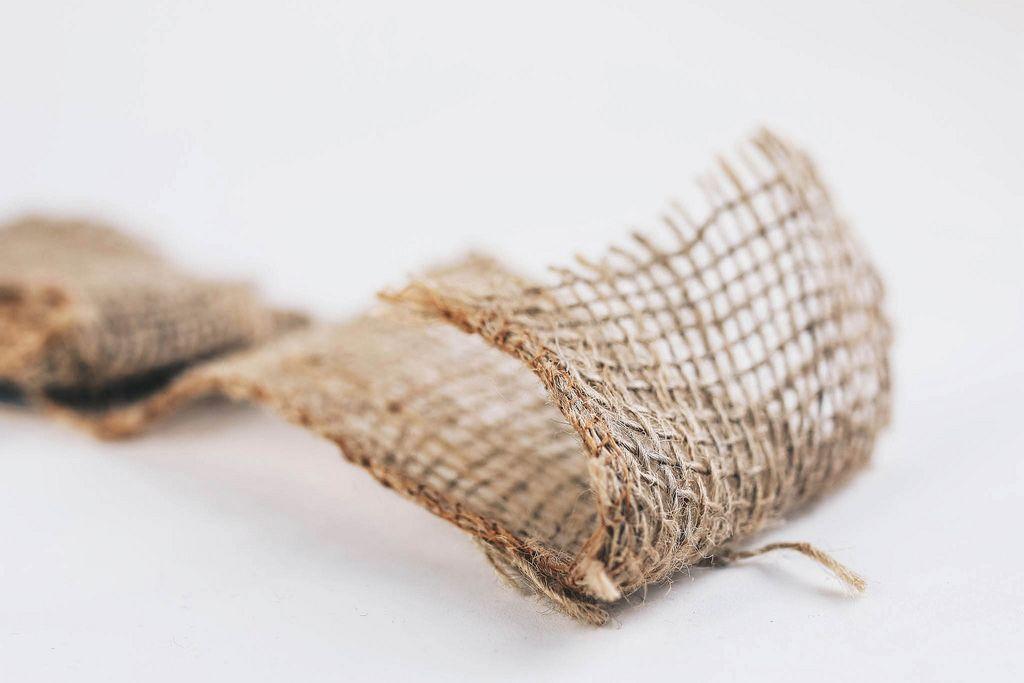 Hemp fabric. Close up of texture .