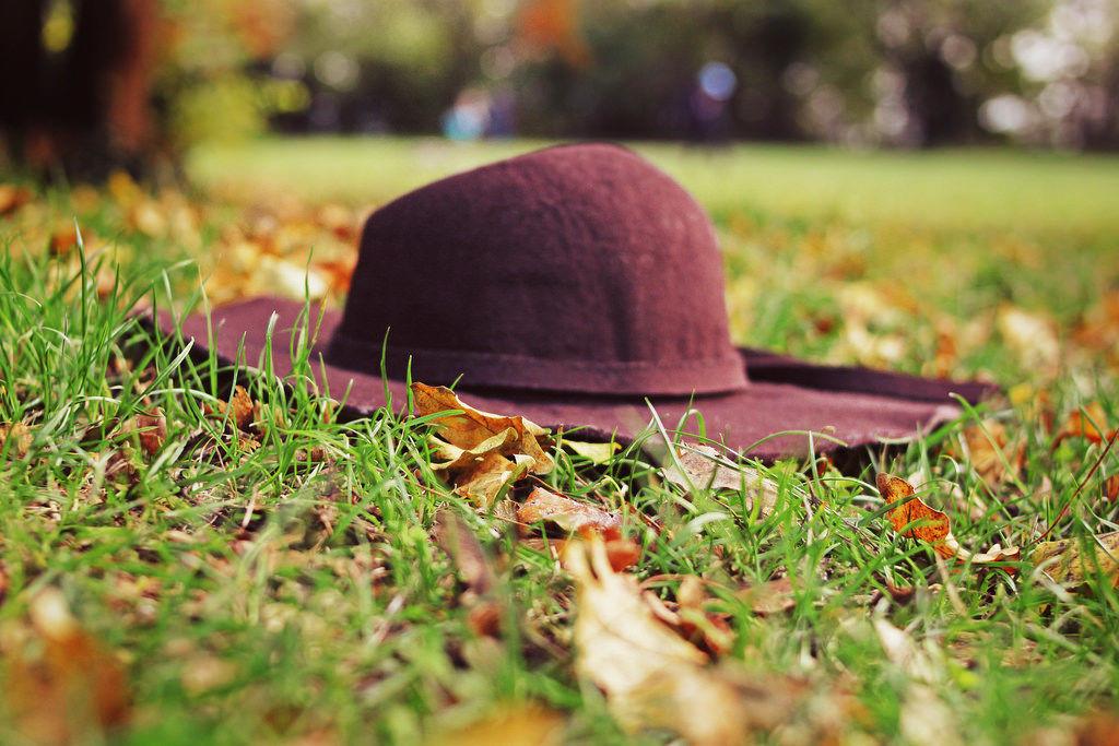 Herbstmode: Hut im Laub