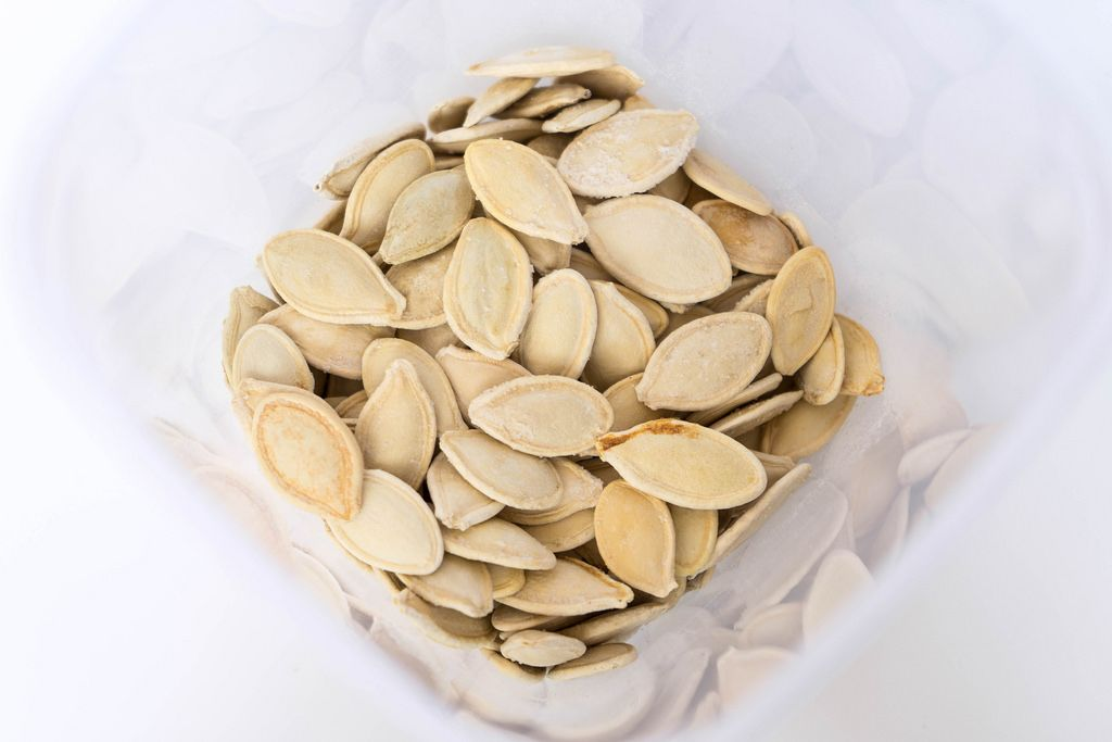 High Angle View of the Roasted Pumpkin Seeds in Shell