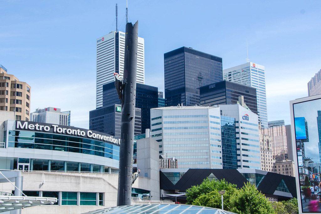 Hohe Gebäude mit Fensterfassaden in der Innenstadt von Toronto