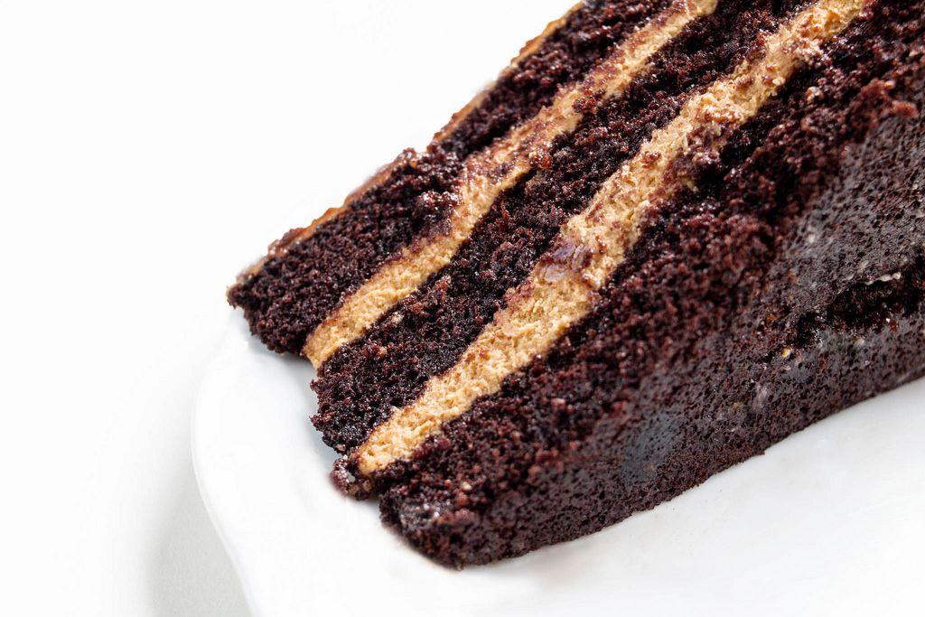 Homemade chocolate and cream cake, close up