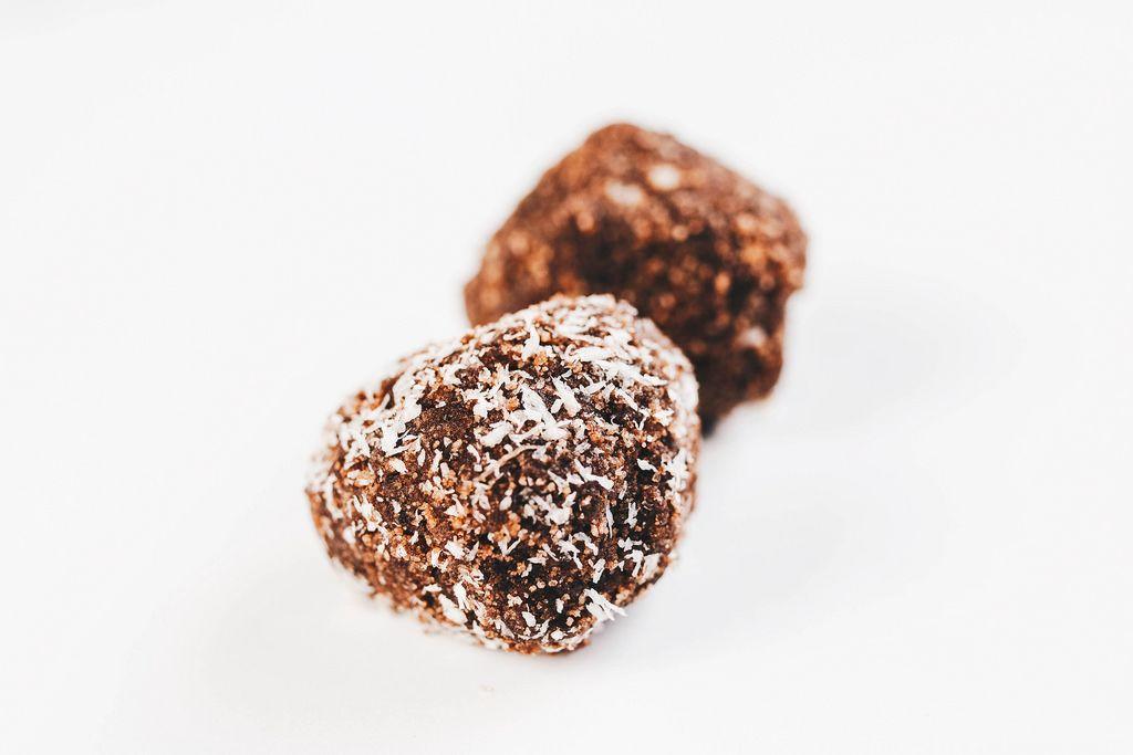 Homemade cocoa and coconut balls