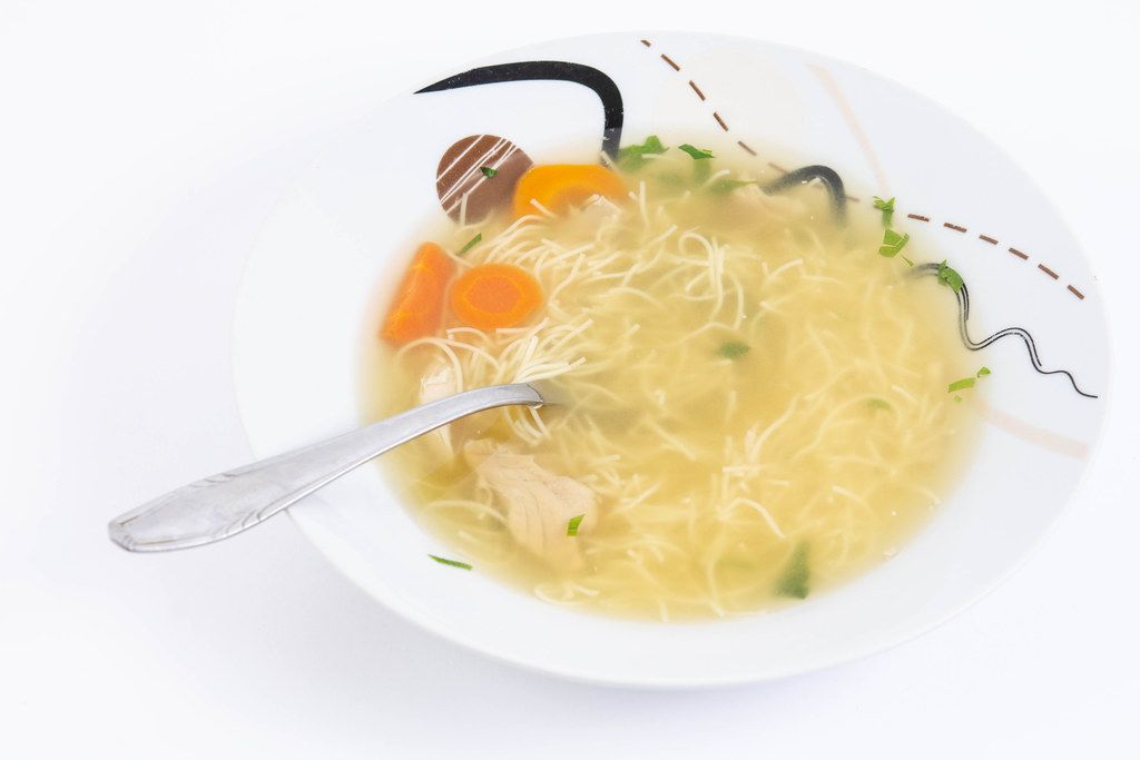 Homemade domestic Chicken Soup with Carrots