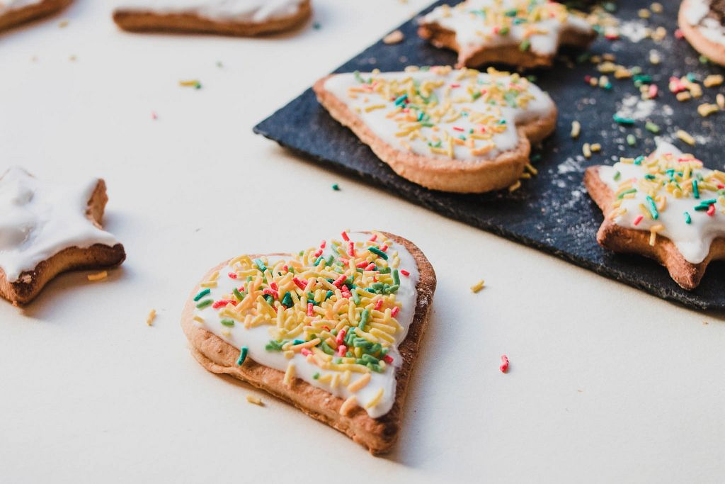 Homemade ginger cookies with colorful sprinckles