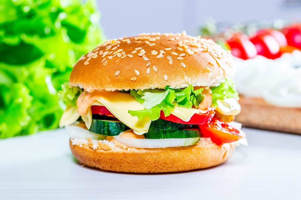 Homemade hamburger with lettuce and cheese (Flip 2019)
