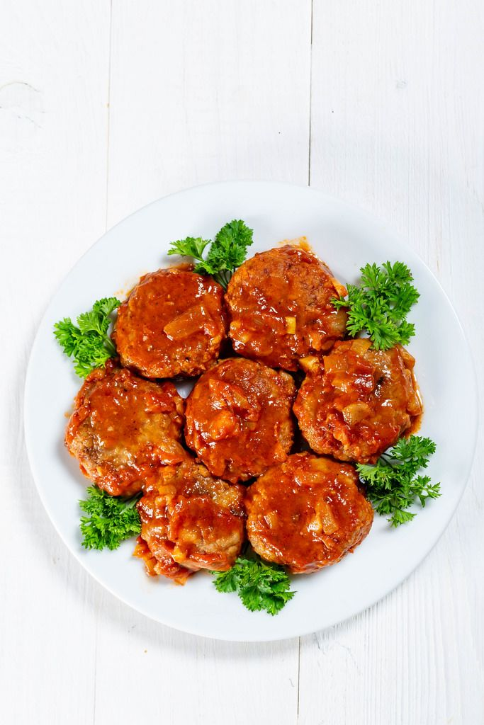 Homemade Meatballs with Tomato Sauce and herbs
