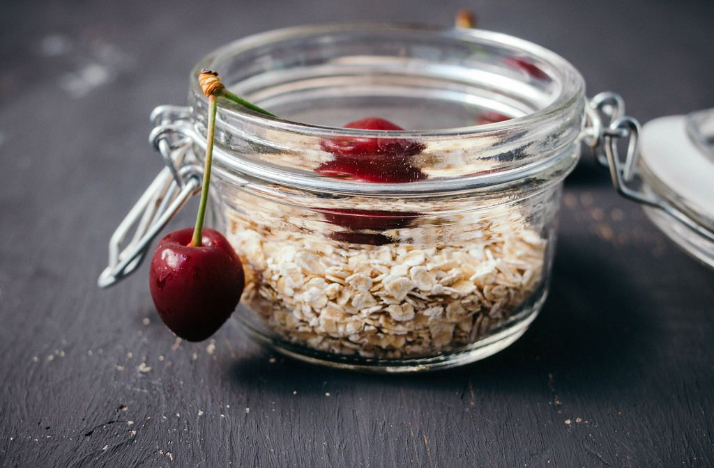 Homemade muesli with toasted rolled oats and cherry