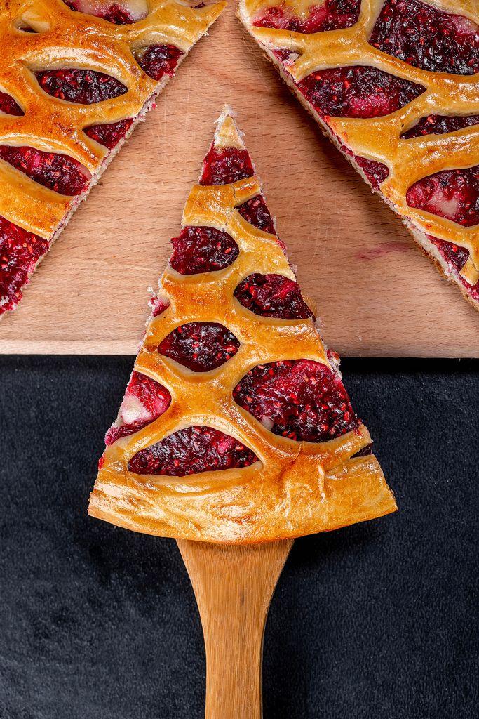 Homemade raspberry pie on the kitchen Board