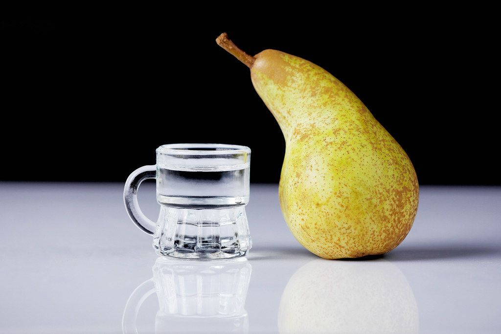 Homemande Schnapps with pear fruit