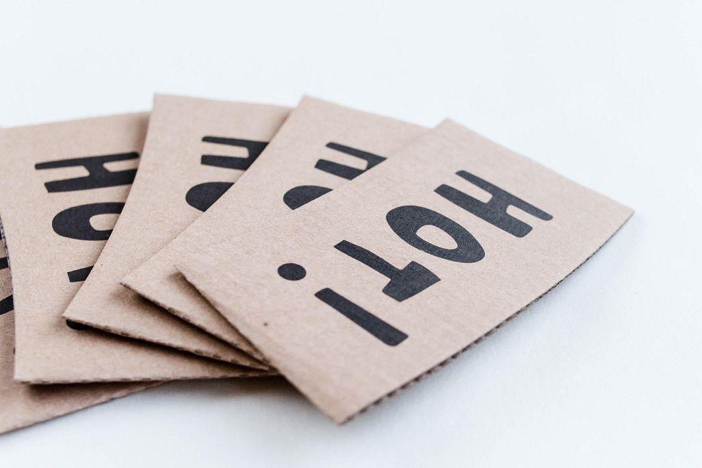 Hot-Label aus Karton für Kaffeetassen