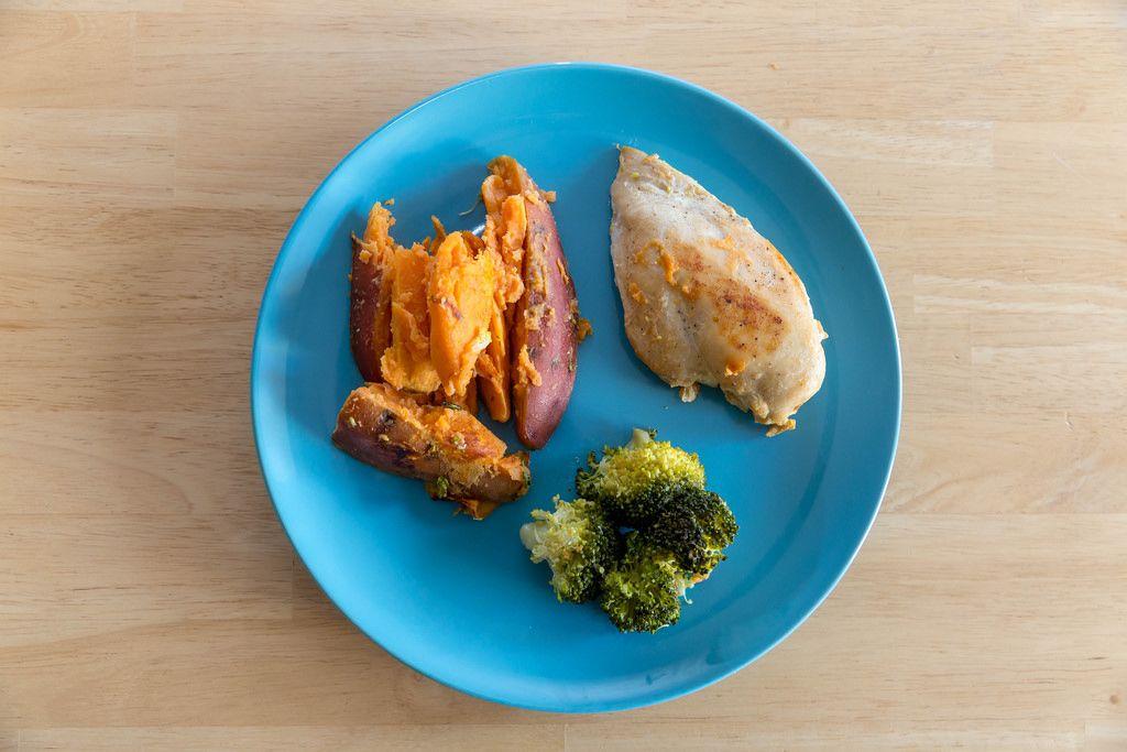Hühnerbrust mit Süßkartoffeln und Broccoli auf einem blauen Teller in der Aufsicht