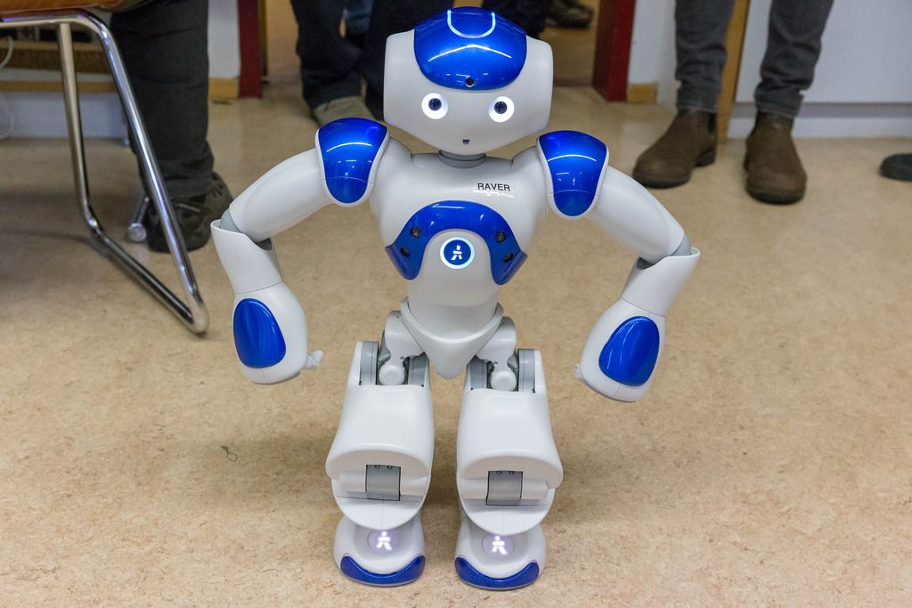 Human like robot with the name raver at the digital education day 2018 in Cologne