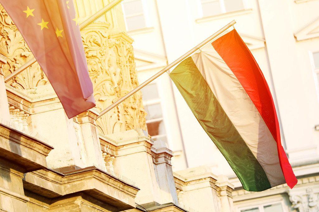 Hungary flag in Budapest
