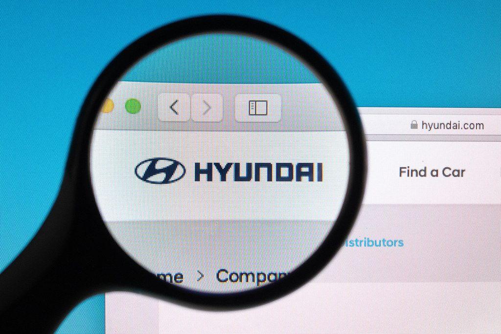 Hyundai website under magnifying glass