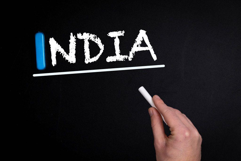 India text on blackboard