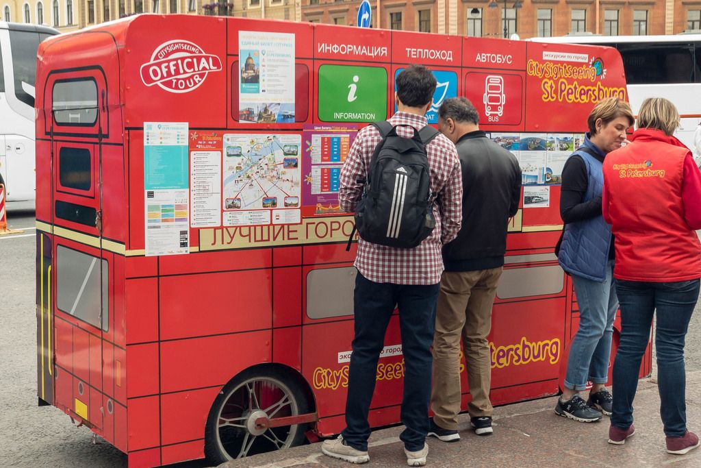 Information desk for the city sightseeing bus in Saint Petersburg