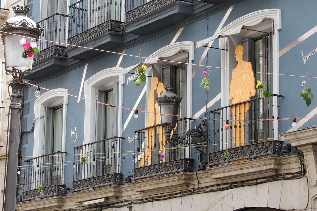 Interesting street decorations for a festival time in Madrid, Spain