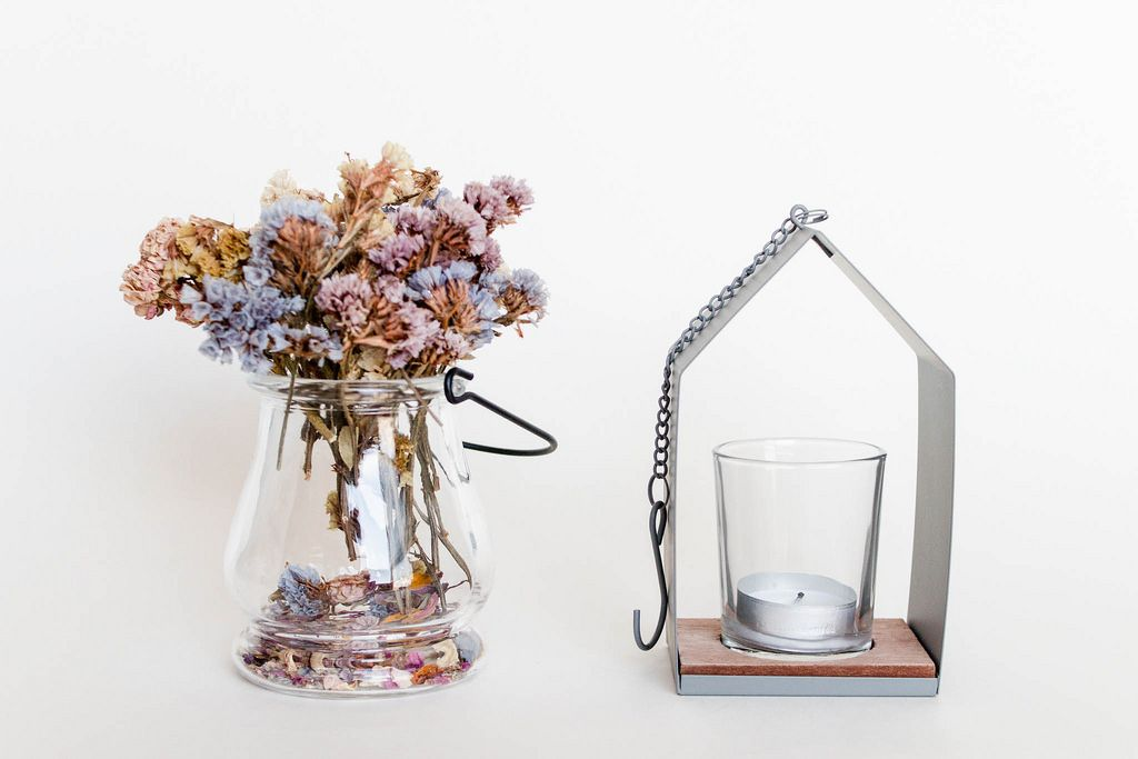 Interior. Decorative dry flowers and candle holder