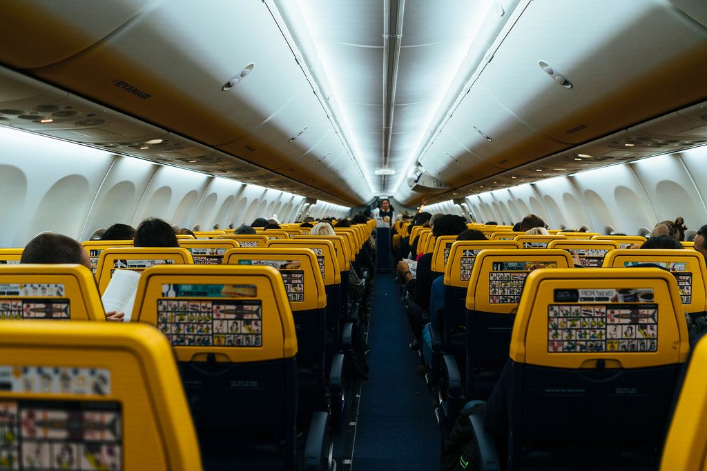 Interior of a Ryanair flight