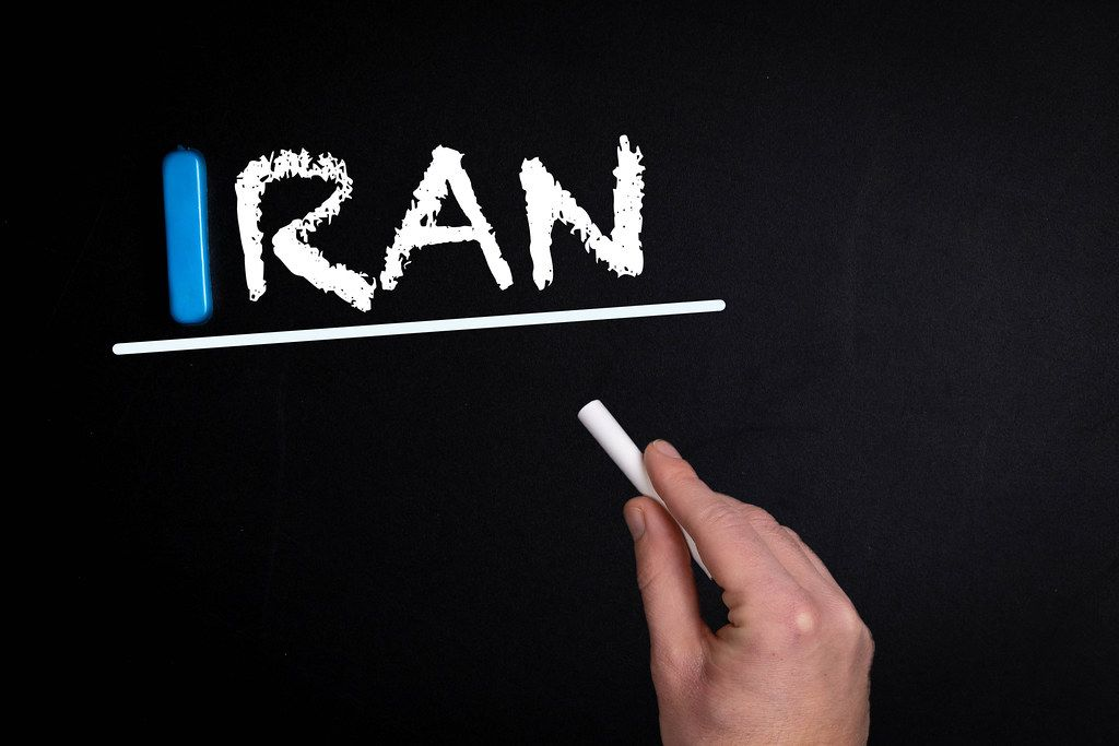 Iran text on blackboard