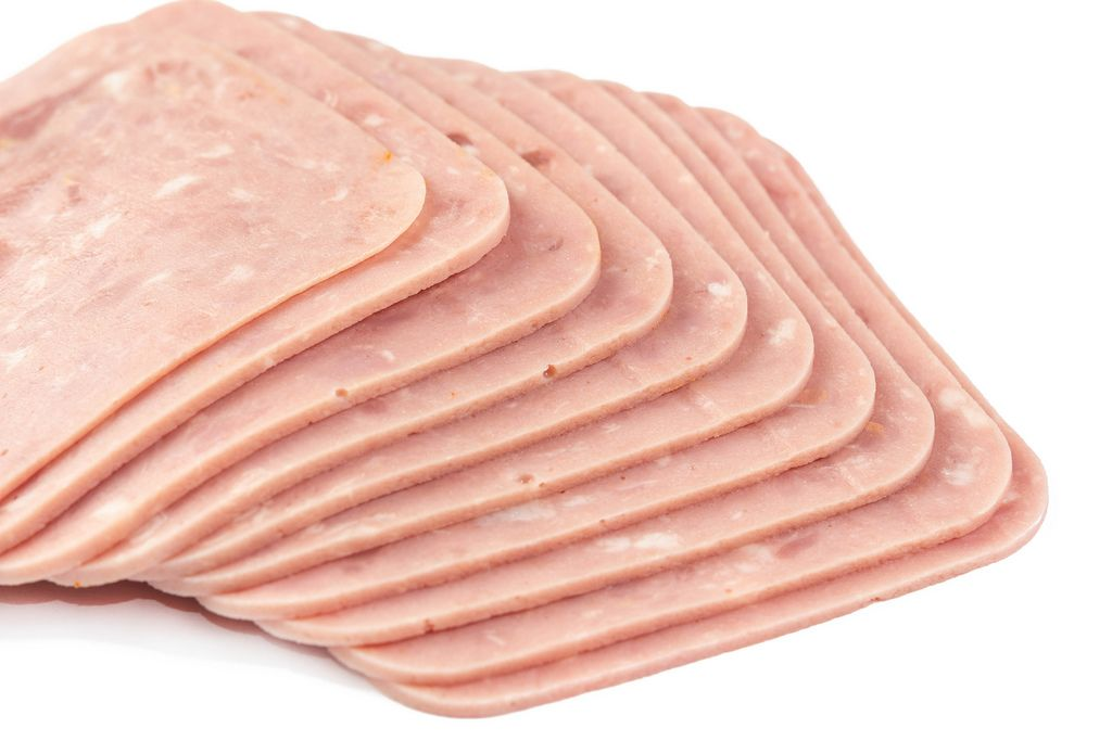Isolated Sliced Square Ham above white background (Flip 2019)