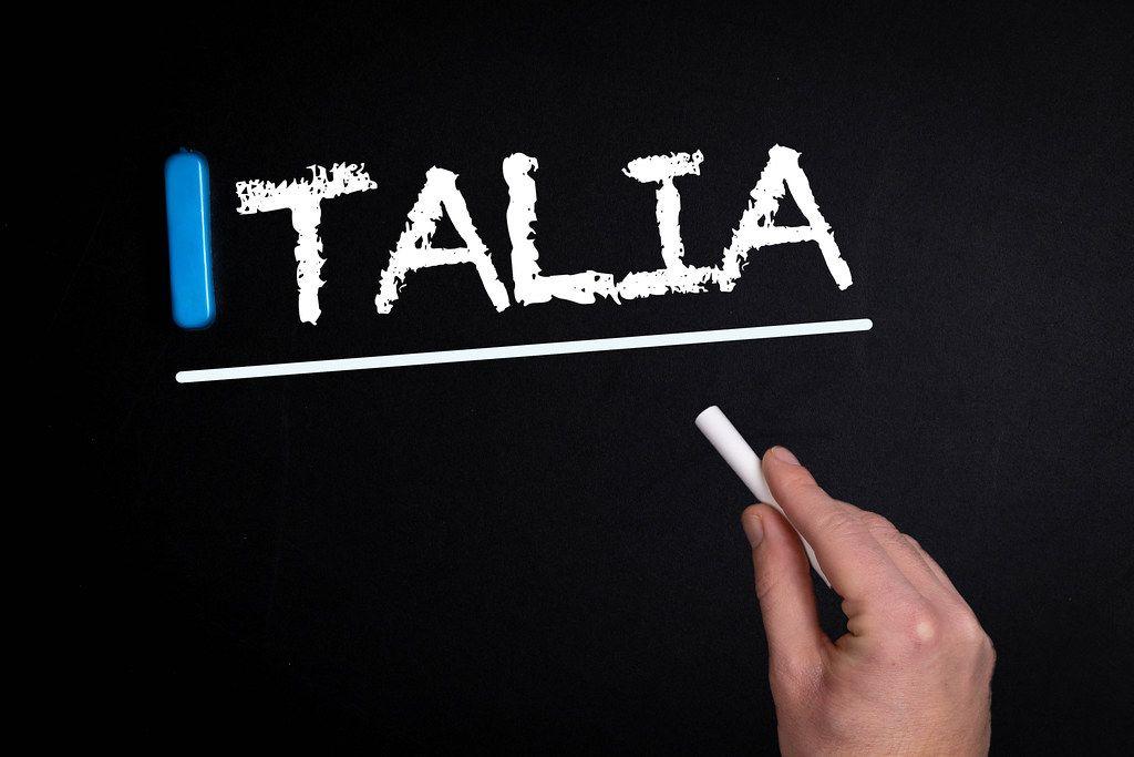 Italia text on blackboard