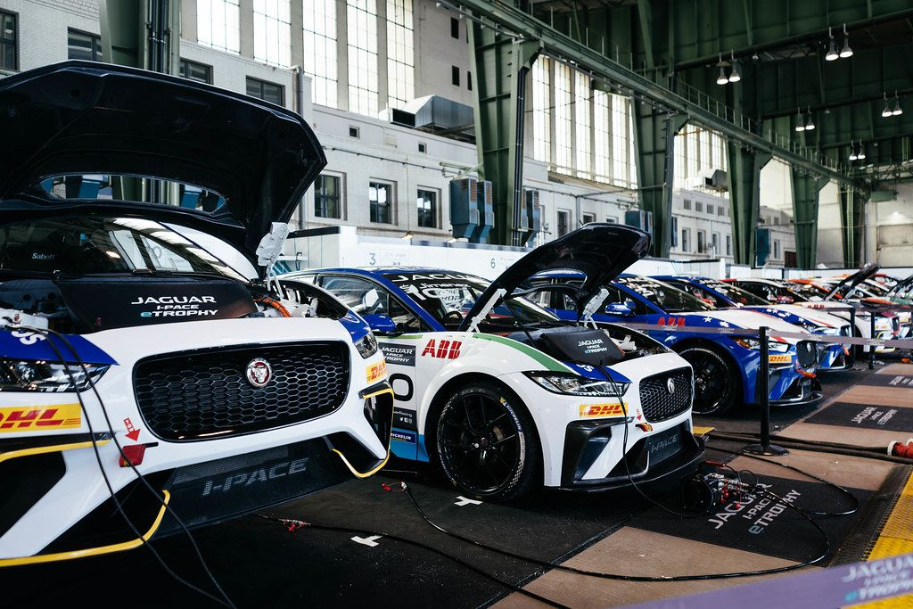 Jaguar i-Pace eTrophy electric cars being recharged after the race