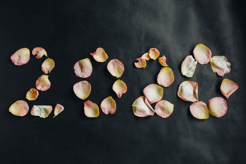 Jahr 2020 geschrieben mit Blumenblättern vor dunklem Hintergrund