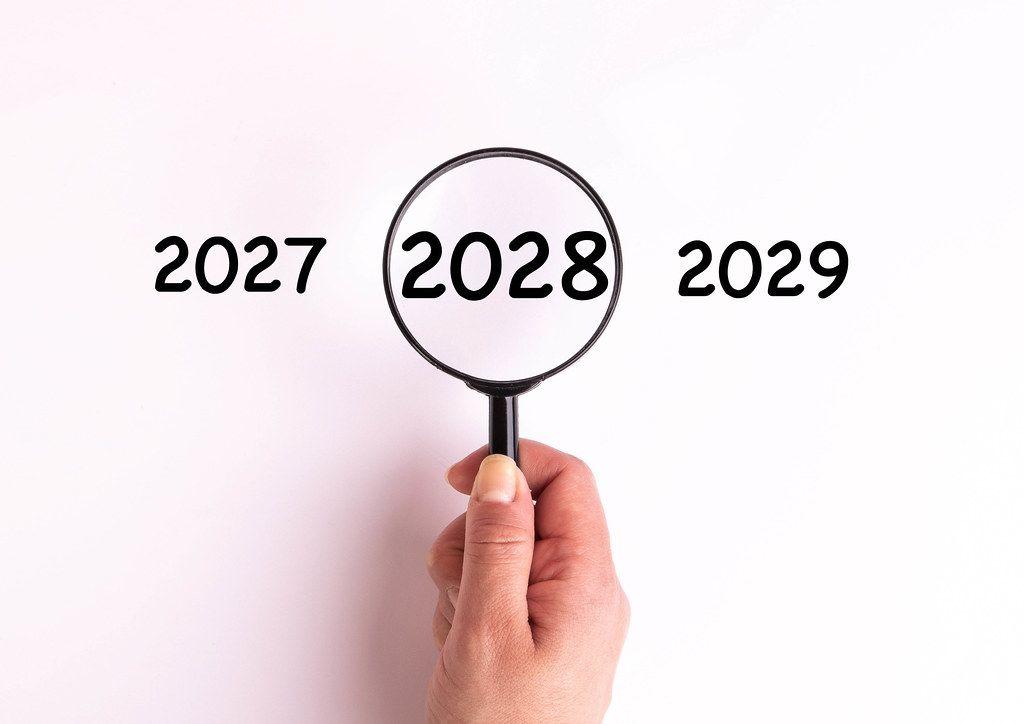 Jahreszahl 2028 auf weißer Oberfläche unter einer Lupe dargestellt