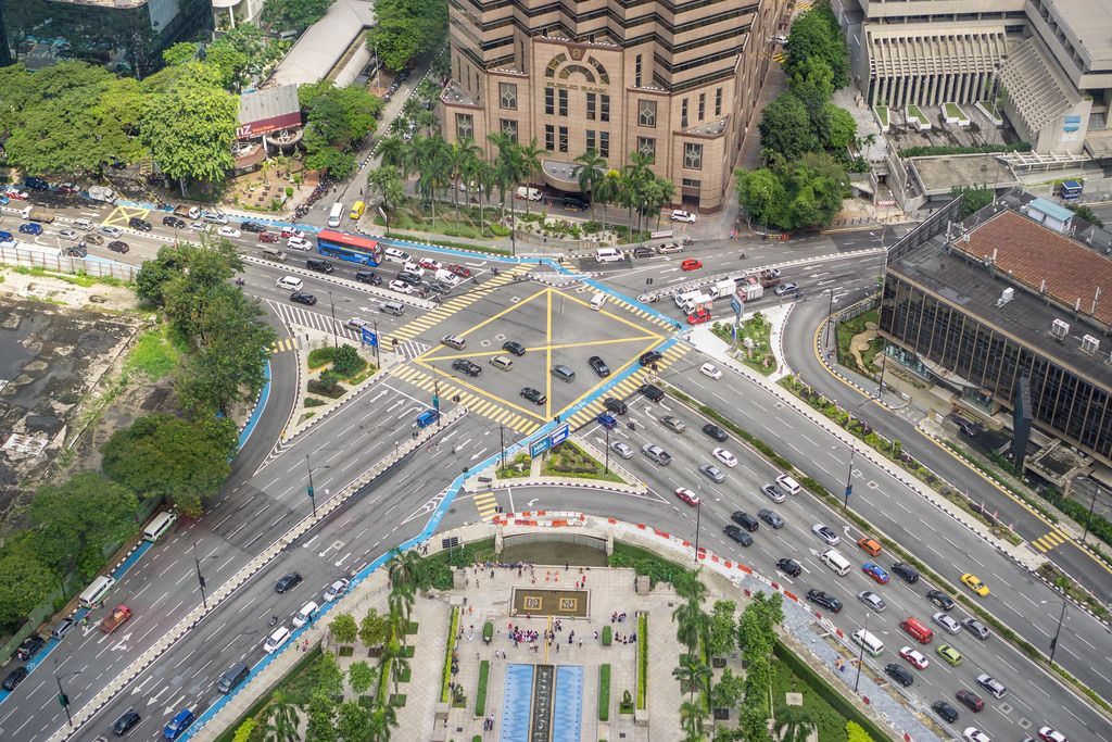 Jalan Ampang View from the Skybridge of Petronas Twin Towers in Kuala Lumpur