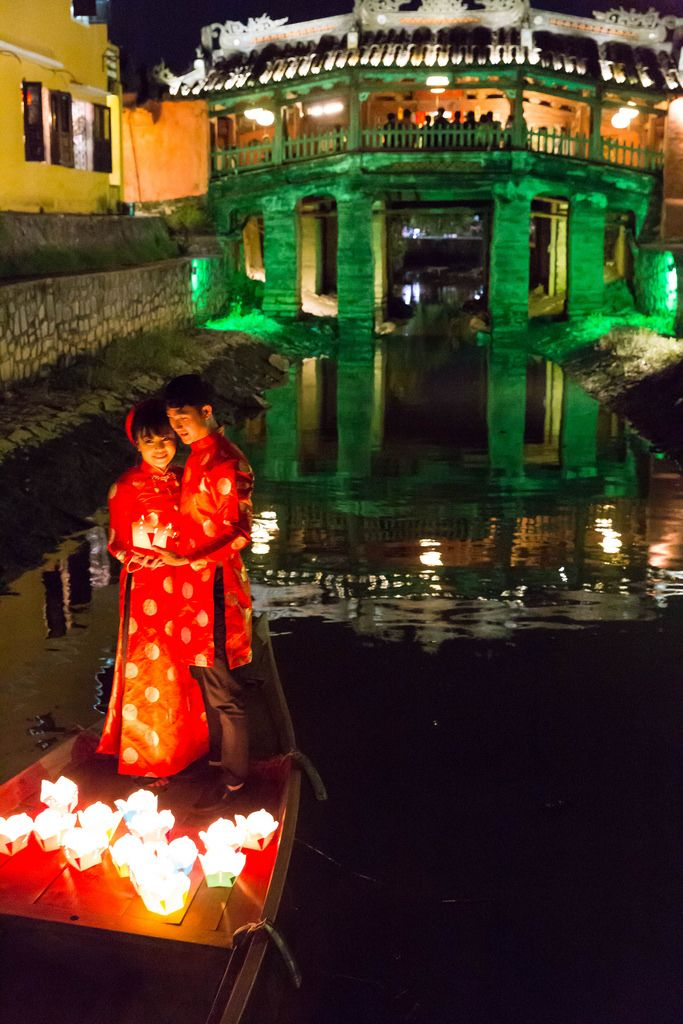 Japanese Bridge with Bridal Couple and Lights