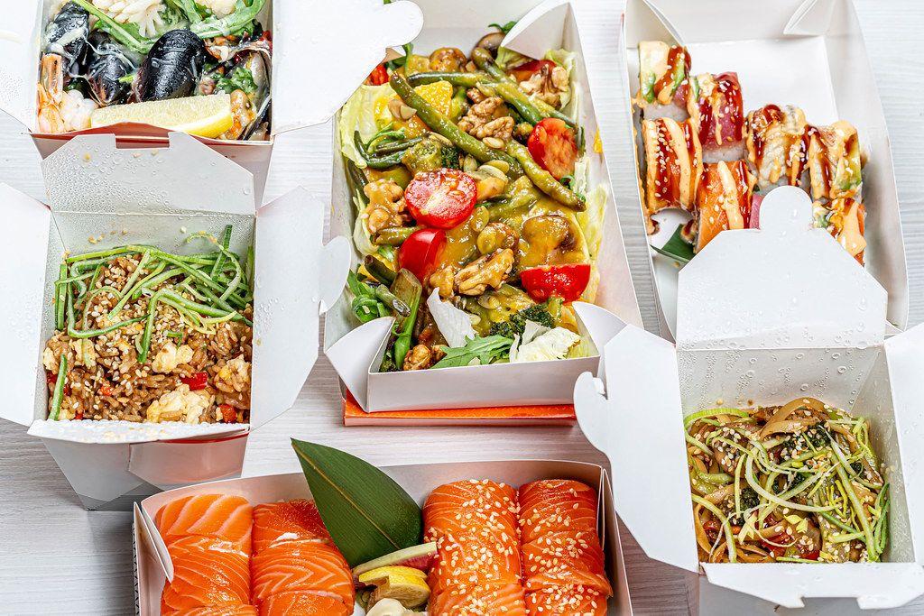 Japanese food set in cardboard boxes