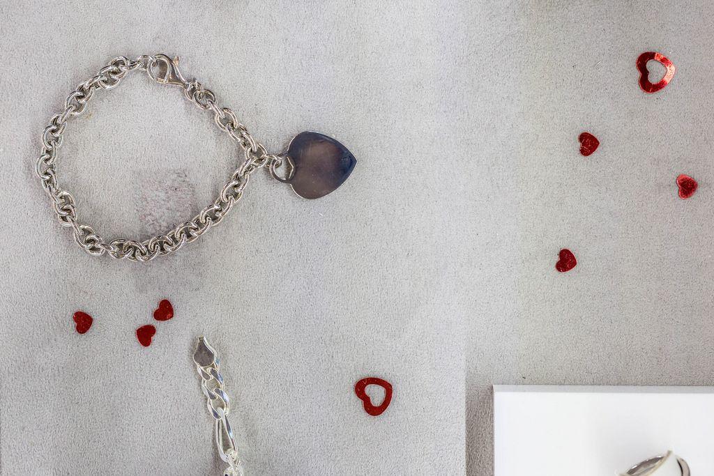Jewelry shop window with hearts decoration