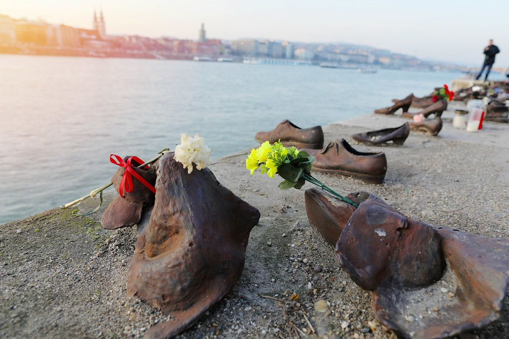 Jews memorial in Budapest, shoes on Danube bank