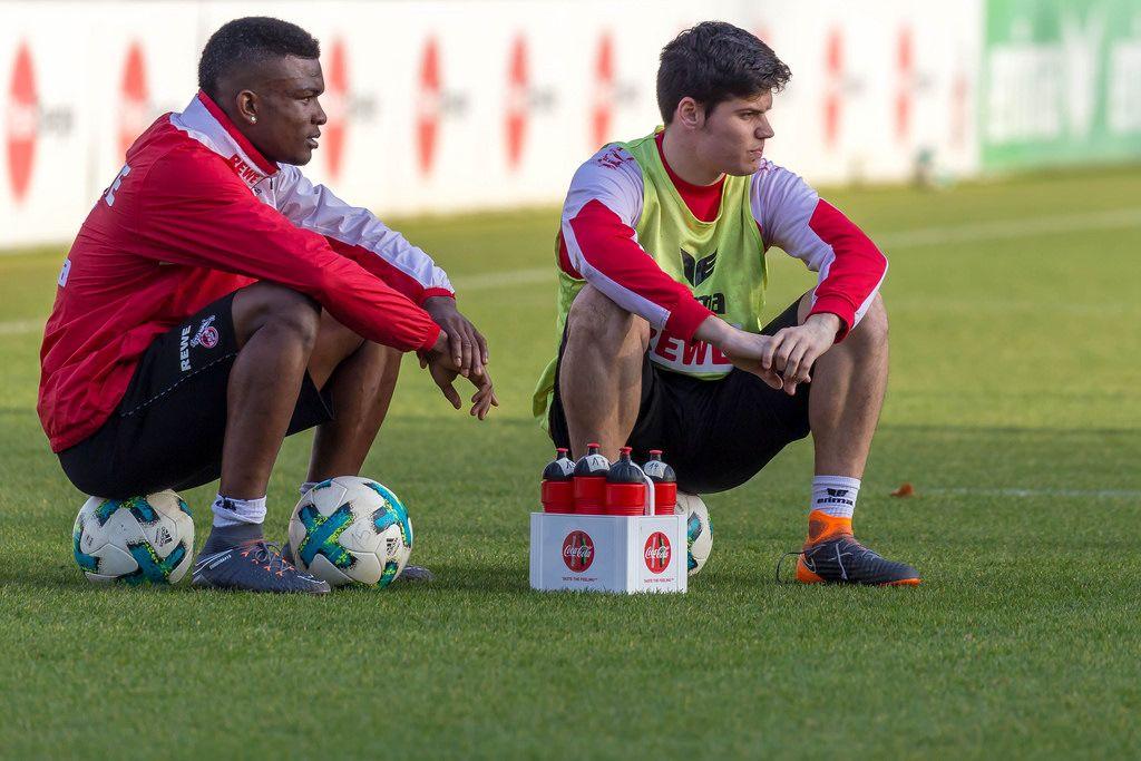 Jhon Córdoba und Jorge Meré beim Training am 30.01.2018