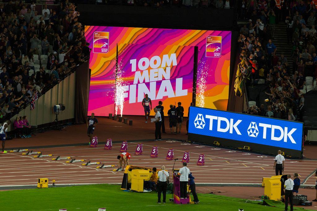 Jimmy Vicaut und Justin Gatlin (100 Meter Lauf) bei den IAAF Leichtathletik-Weltmeisterschaften 2017 in London