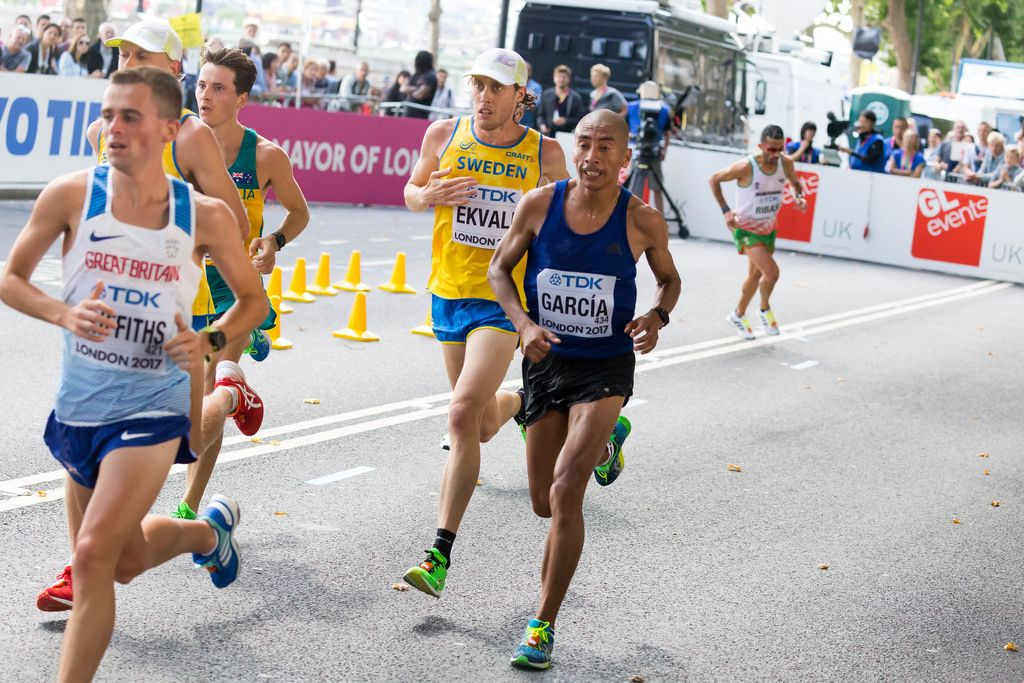 Jose Amado Garcia und weitere Läufer (Marathon Finale) bei den IAAF Leichtathletik-Weltmeisterschaften 2017 in London