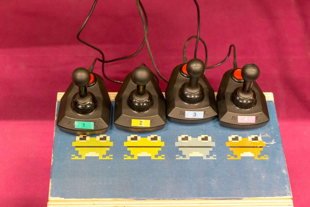 Joysticks connected to a retro gaming console