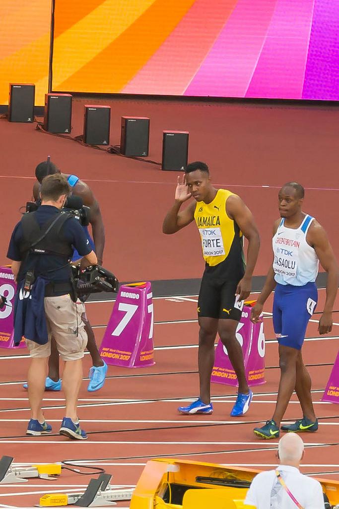 Julian FORTE und James DASAOLU beim Halbfinale über 100m in London