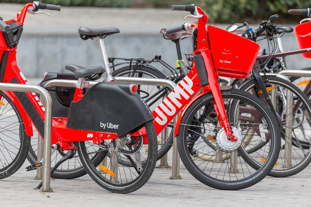 Jump electric scotters for rent by Uber on the streets of Brussels, Belgium