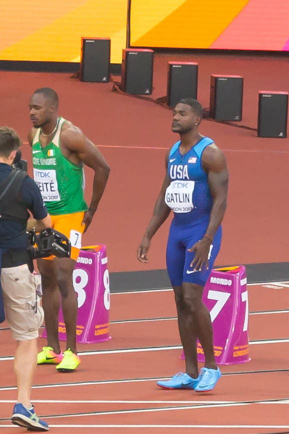 Justin Gatlin (USA) before Semi Final of 100m in Lodon 2017