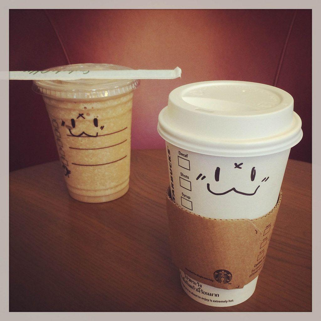 Kaffeebecher mit Emoticons von Starbucks