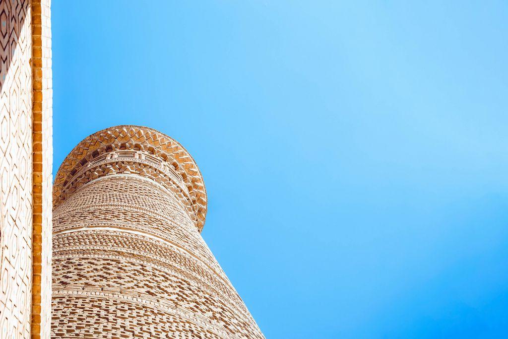 Kalyan Minaret of Bukhara, located in Po-i-Kalyan mosque complex in Bukhara, Uzbekistan (Flip 2019)