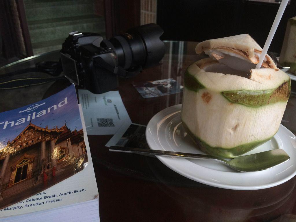 Kamera, Reiseführer Thailand und Getränk in einer Kokosnuss auf dem Tisch