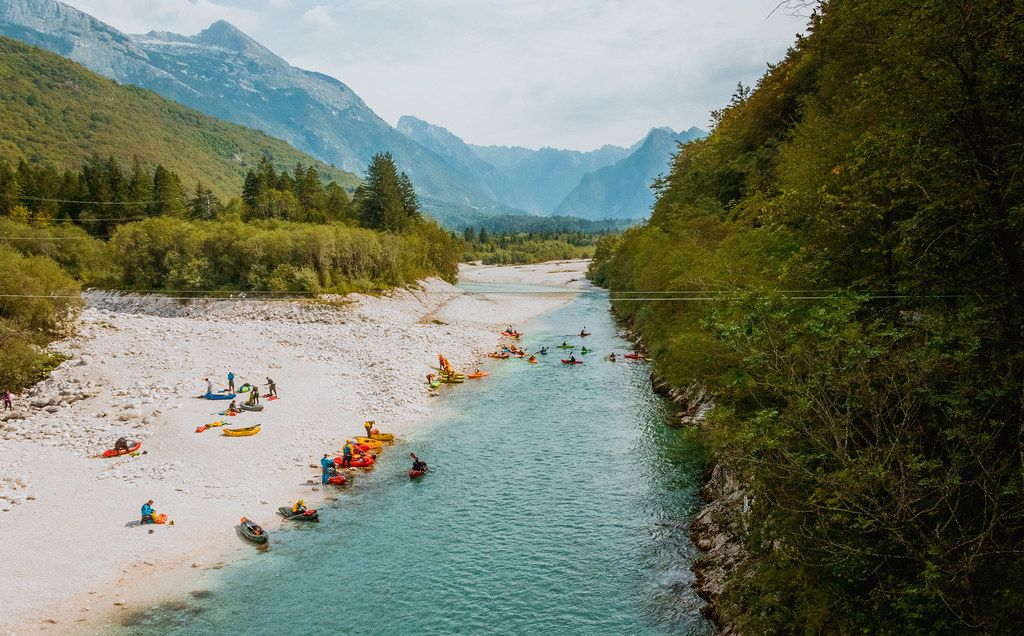 Kayaks on river Soca in Bovec