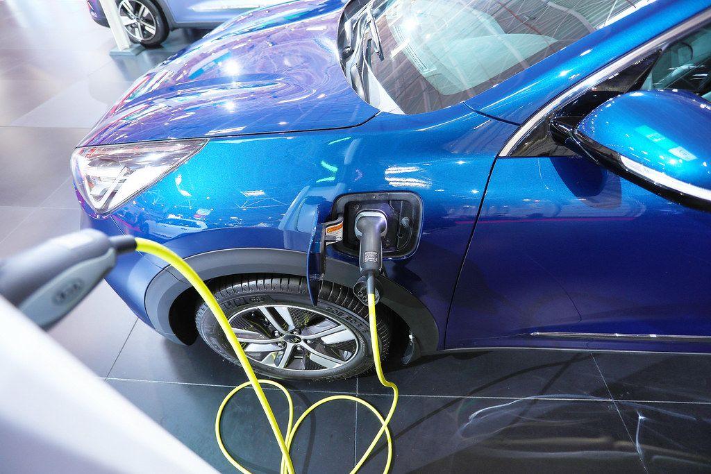 Kia Niro charging at the station, electric car