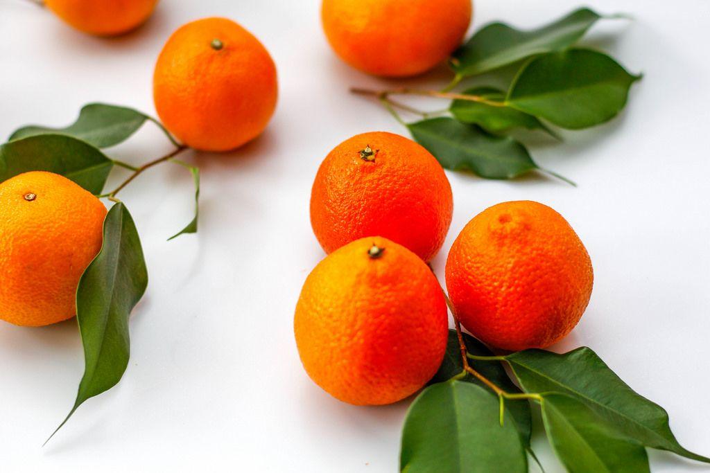 Klementinen vor weißem Hintergrund