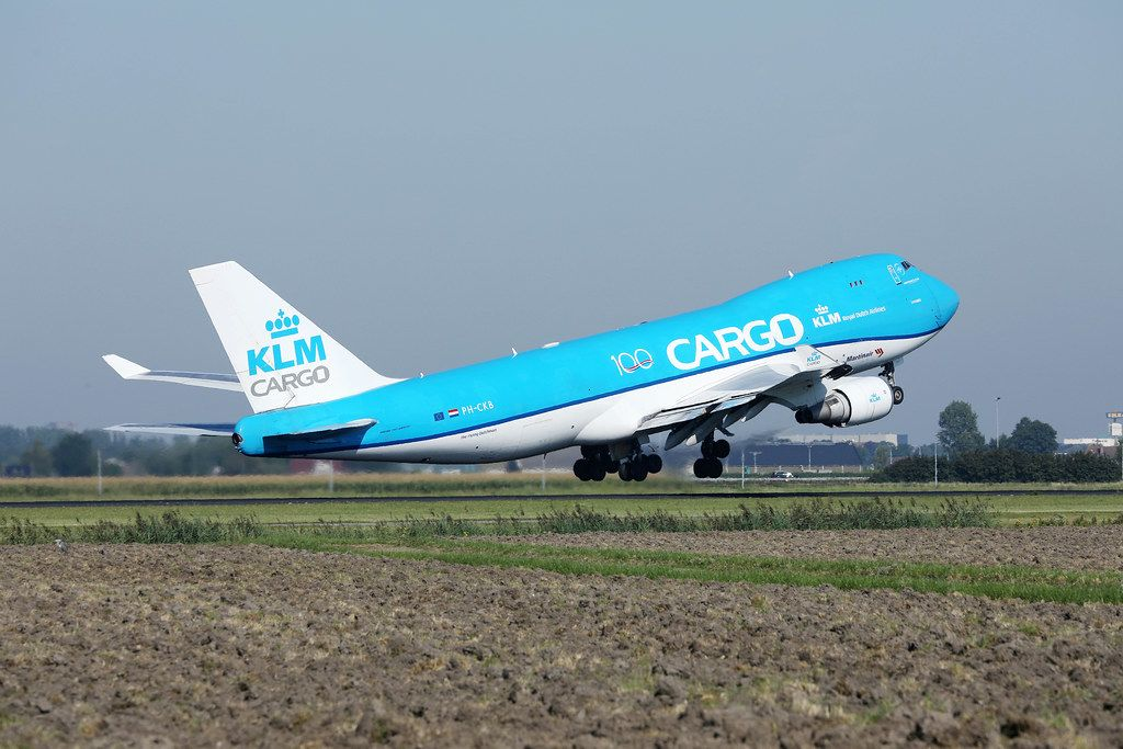 KLM Cargo B747 taking off from Amsterdam Schiphol Airport AMS